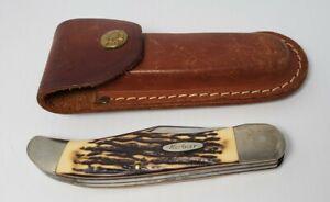 "Vintage Kabar 1184 folding 2 blade knife sheath stag handle 9.5"" extended"