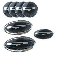 7pcs GT Emblem Front Hood Rear Trunk Badges Steering Wheel Caps for KIA Stinger