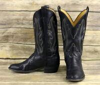 Panhandle Slim Cowboy Boots Black Lizard Leather Mens Size 10 B Narrow Western