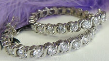 "5mm round Cubic Zirconia Sterling Silver 0.925 Estate 71/2"" Tennis Bracelet"