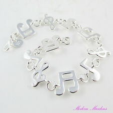 Silver Plate Music Note Link Bracelet with Lobster Clasp 20cm