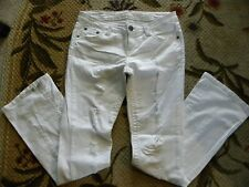 VANILLA STAR WOMENS WHITE DENIM BOOTCUT Ripped Distressed JEANS SIZE 9