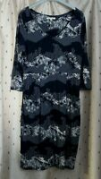 White Stuff ~ Blue Floral Stretch Viscose Tunic Style Dress ~ Size 12