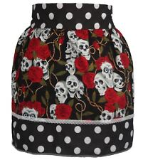 Ladies 1950's Black Polka Dot Pinafore With Skull & Roses Pin Up Apron One Size