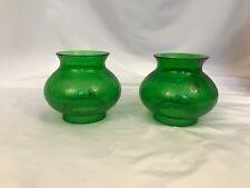 2 Vintage Crackle Glass Oil Kerosene Student Lamp Shade 3 1/4 Fitter Green