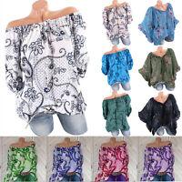 Womens Plus Size Boho T Shirt Long Sleeve Off Shoulder Loose Tops Blouse Floral
