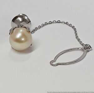 Solid White Gold 9mm Cultured Akoya Pearl Mens Tie Tack 3.5g Fine Jewelry