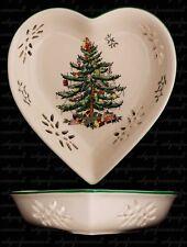 SPODE CHRISTMAS TREE PIERCED HEART SHAPE DISH