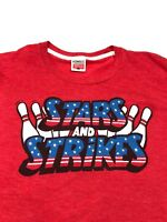 Homage Large T-shirt Stars And Strikes Bowling USA Columbus Ohio Red