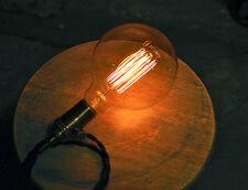 Edison Globe Light Bulb - G40 Size, 60 Watt Clear Glass Lamp, Vintage Filament