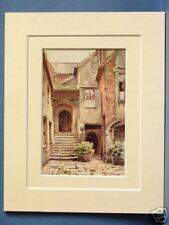STRANGERS HALL NORWICH VINTAGE DOUBLE MOUNTED HASLEHUST PRINT 10X8 OVERALL c1920