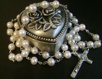 Sterling 925 Silver AAA+ 8-9mm Real Pearl ROSARY CROSS Catholic Crucifix & box