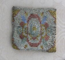 Vintage Micro Steel-Cut Beaded COIN PURSE, DOLL'S PURSE, Made in FRANCE