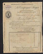 """PARIS (II°) MACHINES à COUDRE """"SINGER"""" en 1922 , Succursale d'ORLEANS"""