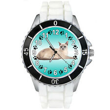 Tonkinese Tonk Domestic Cat White Jelly Silicone Mens Ladies Wrist Watch Sew324