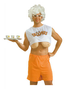 Men's Funny Droopers Costume Hooters Big Fake Boobs Fancy Dress Stag Party
