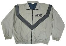 Mens ARMY Gray Vented Full Zip LARGE Windbreaker Physical Fitness JACKET