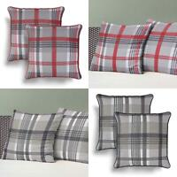 """Set of 2 Cushion Covers Red Grey Tartan Modern Check Cover Pairs 18"""" x 18"""""""