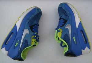 NIKE Air Max 90 (GS) 307793 409 Boys Blue Trainers Size UK 5