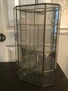 Vtg Brass & Glass Cabinet Large Curio Display Case Hangs On Wall Or Table Top
