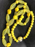Vintage Yellow Translucent GLASS BEAD with Round and Oval Beads Necklace #183