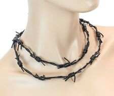 Leather Barbed wire Gothic Punk Rave Cyber Scary Alternative Necklace