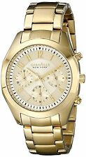 Caravelle New York Women's 44L118 Quartz Crystal Accents Gold Tone 36mm Watch