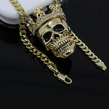 "Men's Gold Plated King Head Skull Pendant 24"" Cuban Chain Hip-Hop Necklace D603"