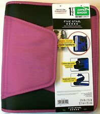 "Mead Five Star 1.5"" 500 sht capacity 3 Ring Zipper Binder Expanding File Magenta"