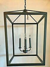 New 4 light Dark Bronze square cage light fixture farmhouse pendant