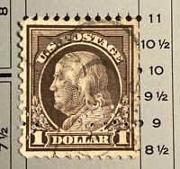 Vintage One Dollar 1914-17 FRANKLIN Stamp Perf 11