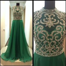 Hot High Collar Green Evening Gown Beading Formal Pageant Celebrity Prom Dresses