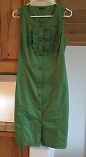 Talbot's Sleeveless Button Down Cotton Green Dress Size S