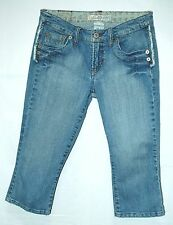 Low FADED Frayed Seams Z. CAVARICCI Capri Clamdigger CROP Jeans! 7