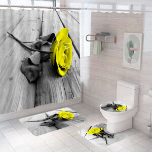 Yellow Rose Bathroom Rug Set Shower Curtain Thick Toilet Lid Cover Bath Mat