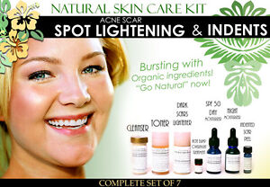 Natural Skin Care Kit For Acne Scar Spot Lightening and Pitted Scars Set of 7