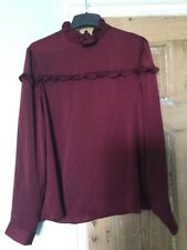 Peacock Burgundy Frilled Trim Top Size 14 BNWT