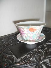 oriental china tea bowl and saucer cracked and chiped hand painted