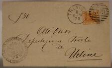 STORIA POSTALE REGNO 20 c. 1879 TIMBRO DEPUTAZIONE PROVINCIA DI TREVISO #SP225