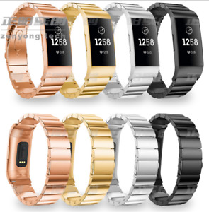 Stainless Steel Link Bracelet Watch Strap Band For Fitbit Charge 3 / Charge 4