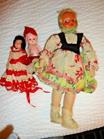 Vintage Doll Lot - 1 Tall EUROPEAN PEASANT And 2 Small CELLULOID KEWPIES