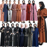 Dubai Open Front Abaya Muslim Women Cardigan Robe Kaftan Jilbab Maxi Dress Party