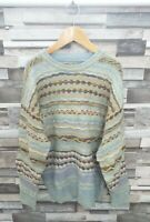 WOMENS VTG RETRO 90'S BRIGHT BOLD GEOMETRIC WOOLLEN WINTER COSBY JUMPER UK 10