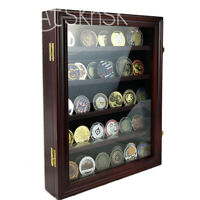 Cabinet Challenge Coin Display Case Cherry Finish Wooden Chips Box Coins Chest
