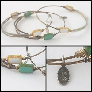 3 Copper Wire Wrapped Glass Faux Stone & Seed Bead Bracelets