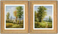 Framed Original Oil Painting, French Country Scene Landscape, Signed by Humphrey
