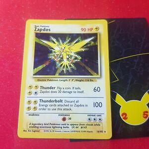 1999 Pokemon cards wotc Base Set Zapdos 16/102 Rare Holo Card NM