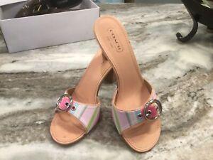Coach Diedre Multi Stripe Sandals.  Pink multicolor.sz 9M