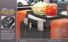 6 POCKET REMOTES MAGAZINE BOOK DVD STORAGE ARM REST ORGANIZER WITH TABLE TOP