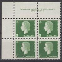 CANADA #402 2¢ Queen Elizabeth II Cameo Issue UL Plate #3 Block MNH